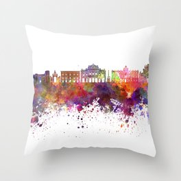 Catania skyline in watercolor background Throw Pillow