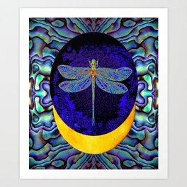 Mystical Midnight- Blue Moon  Gossamer Dragonfly Art  Art Print
