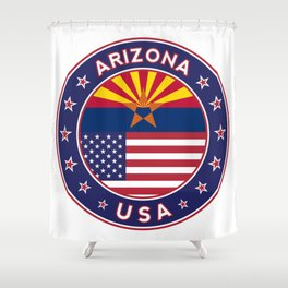 Arizona, Arizona t-shirt, Arizona sticker, circle, Arizona flag, white bg Shower Curtain