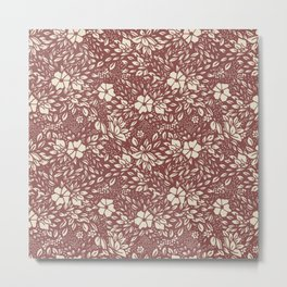 Abstract Geometric floral  - kind of damasc french style wallpaper  - red guava and cream Metal Print