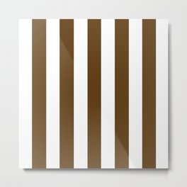 Pullman Brown (UPS Brown) - solid color - white vertical lines pattern Metal Print