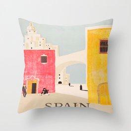 Spain Vintage Travel Poster Mid Century Minimalist Art Throw Pillow
