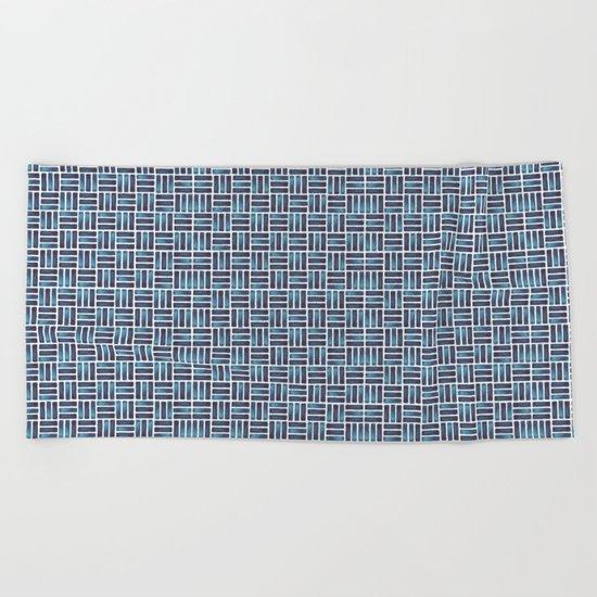 Navy Watercolour Rectangles Beach Towel