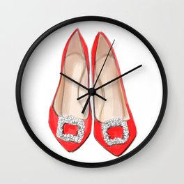 Manolo Red Shoes Wall Clock