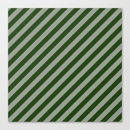Large Dark Forest Green Candy Cane Stripes Canvas Print