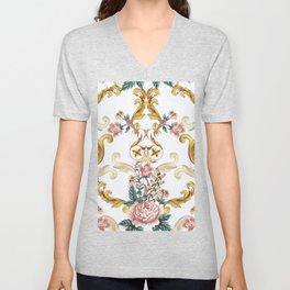 Vintage pattern with Luxury Baroque with roses hand drawn illustration pattnern, white background. Retro abstract geometric design, elegent, luxury Unisex V-Neck