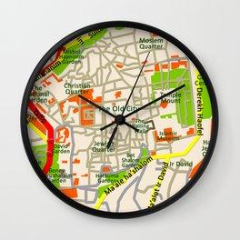 Jerusalem map design Wall Clock