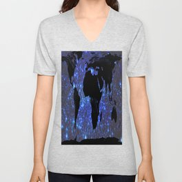 World Map : Blue Galaxy Stars Unisex V-Neck