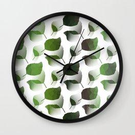 Tumbling Green Leaves Wall Clock