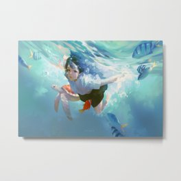 anime anime girls original characters women brunette underwater swimming sea water fish turtle bubbles looking at viewer artwork drawing digital illustration Taejune Kim Pixiv blue cyan Metal Print