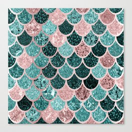Mermaid Fish Scales, Pink, Rose Gold, Teal, Emerald Green Canvas Print