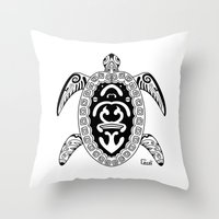 tortoise Throw Pillows featuring Tortoise by ceceï