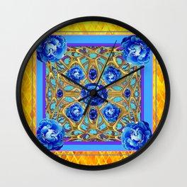 September Birthstone Blue Sapphire Peonies Gold Art. Wall Clock