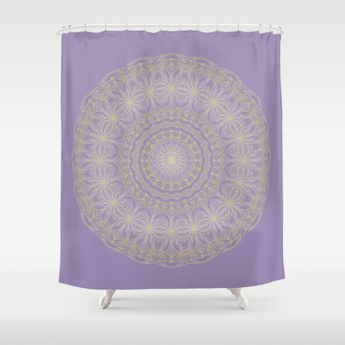 Lotus Mandala in Lavender and Gold Shower Curtain by lena127 | Society6