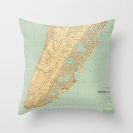 Vintage Map of Cape May NJ (1888) Throw Pillow