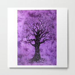 Purple Tree Printed Indian Mandala Wall Hanging Metal Print