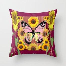BURGUNDY SUNFLOWERS & PINK BUTTERFLY ART Throw Pillow