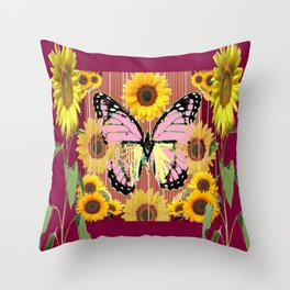 BURGUNDY SUNFLOWERS & PINK BUTTERFLY ART Throw Pillow