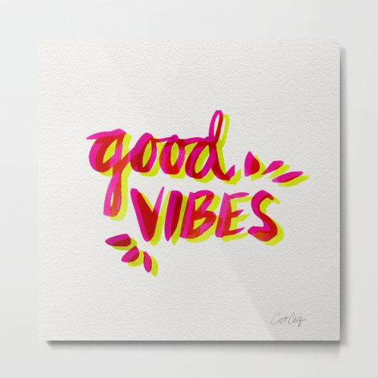 Good Vibes – Pink & Yellow Metal Print