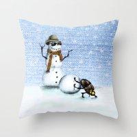 snowman Throw Pillows featuring Snowman by Anna Shell