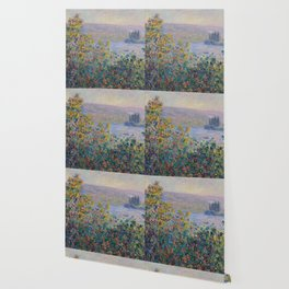 Flower Beds at Vetheuil by Claude Monet Wallpaper