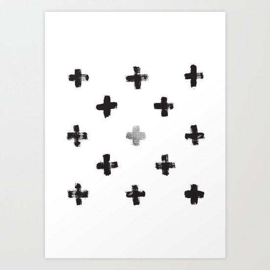 Silver and Black Swiss Cross Pattern Art Print