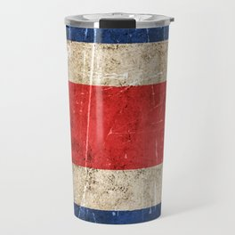 Vintage Aged and Scratched Costa Rican Flag Travel Mug