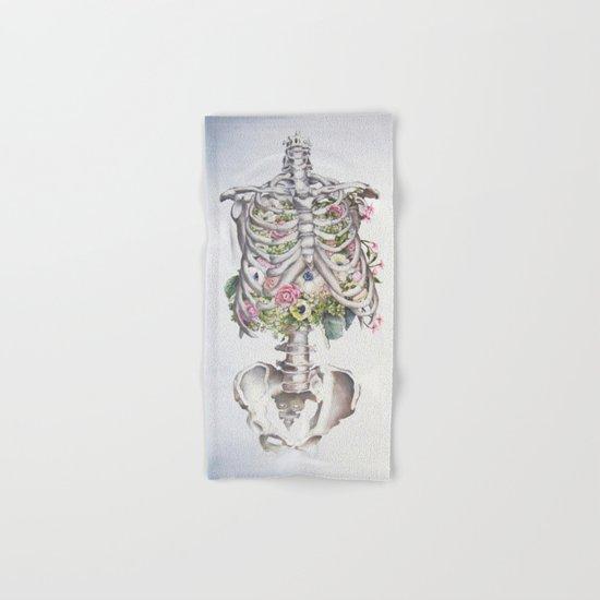 Floral Anatomy Skeleton Hand & Bath Towel