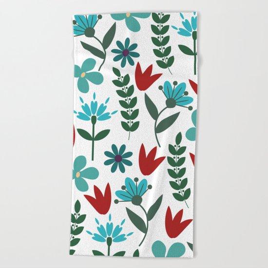 Flower Pattern VIII Beach Towel
