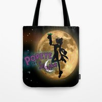 popeye Tote Bags featuring POPEYE THE SAILOR MOON - 001 by Lazy Bones Studios