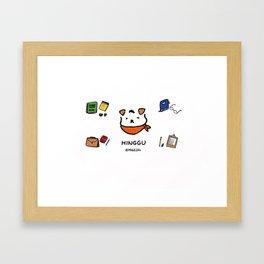 Hinggu_Note_Korea Jindo Dog illustration Framed Art Print