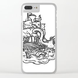 Kraken Attacking Ship Tattoo Grayscale Clear iPhone Case