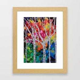 """Rainbow Birch Trees"" Framed Art Print"