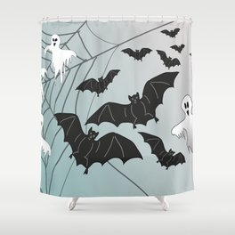 Bats & Monsters Halloween Spider Web Shower Curtain