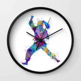 Karate Girl Martial Arts Colorful Watercolor Sports Art Wall Clock