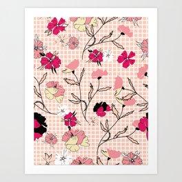Checker Wild Petite Floral Pink Art Print