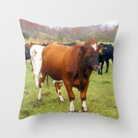 cows Throw Pillows featuring Cows by AstridJN