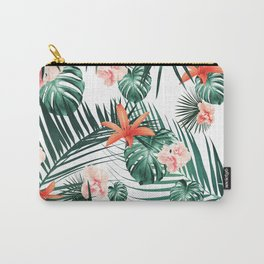 Tropical Flowers & Leaves Paradise #2 #tropical #decor #art #society6 Carry-All Pouch