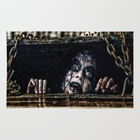 evil dead Area & Throw Rugs featuring Stay Out of the Basement: Evil Dead by Joe Misrasi