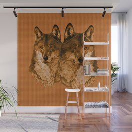 Season of the Wolf - Duet in Gold Wall Mural