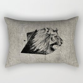 Angry Concrete Lion Rectangular Pillow