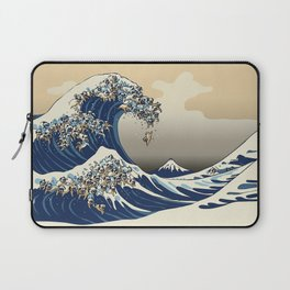 The Great Wave of Pugs Vanilla Sky Laptop Sleeve