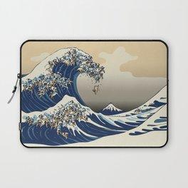 The Great Wave of Pugs Vanilla Sky Laptop Sleeve