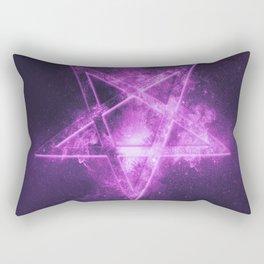Reversed Pentagram symbol. Abstract night sky background. Rectangular Pillow