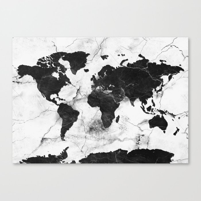 world map marble 3 Canvas Print
