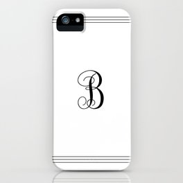 Monogram Letter B in Black with Triple Border iPhone Case