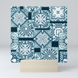 Green tile pattern Mini Art Print