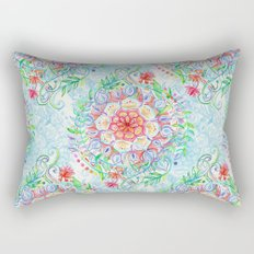 Messy Boho Floral in Rainbow Hues Rectangular Pillow