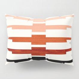 Mid Century Minimalist Ancient Aztec Inca Geometric Pattern Watercolor Brown Colorful Gouache Painti Pillow Sham