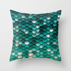Turquoise sparkling mermaid glitter scales- Mermaidscales on #Society6 Throw Pillow